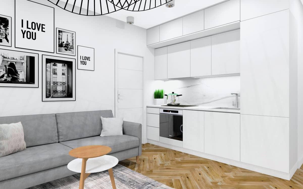 Kuchnia w salonie, mała kuchnia, szafki kuchenne białe, blat biały, marmur na ścianie