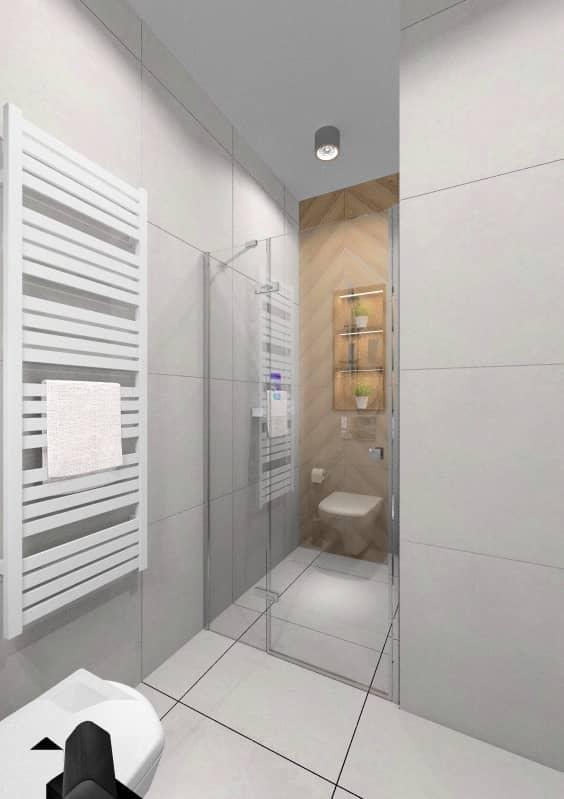 Łazienka mała z prysznicem, płytki szare, płytki drewnopodobne jodełka
