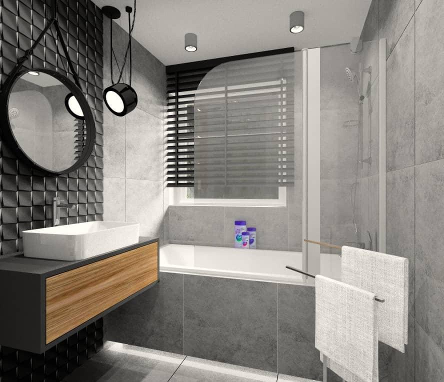 Łazienka, nowoczesne wnętrze, na zdjęciu lustro na pasku, wanna z parawanem, umywalka nablatowa