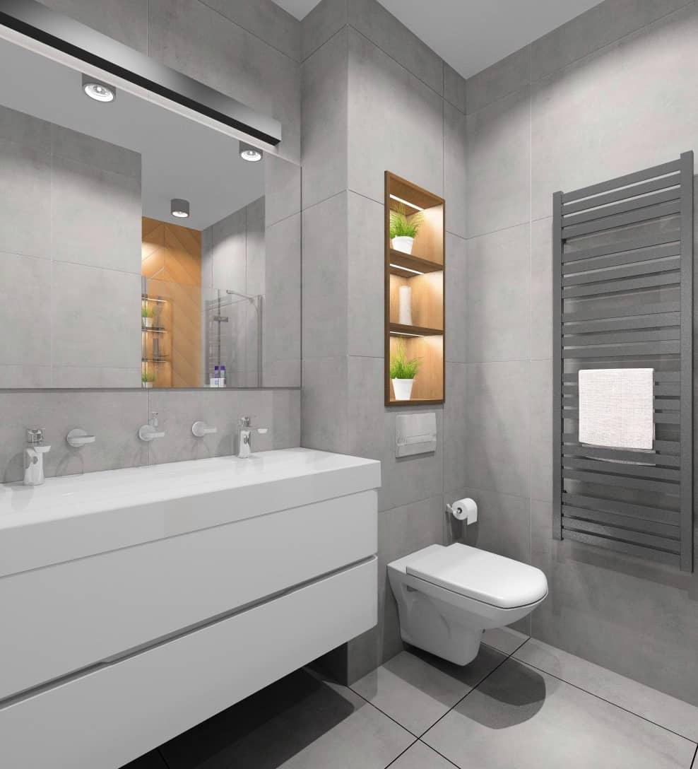 Mała łazienka, styl nowoczesny, w kolorach bie, szarość, drewno