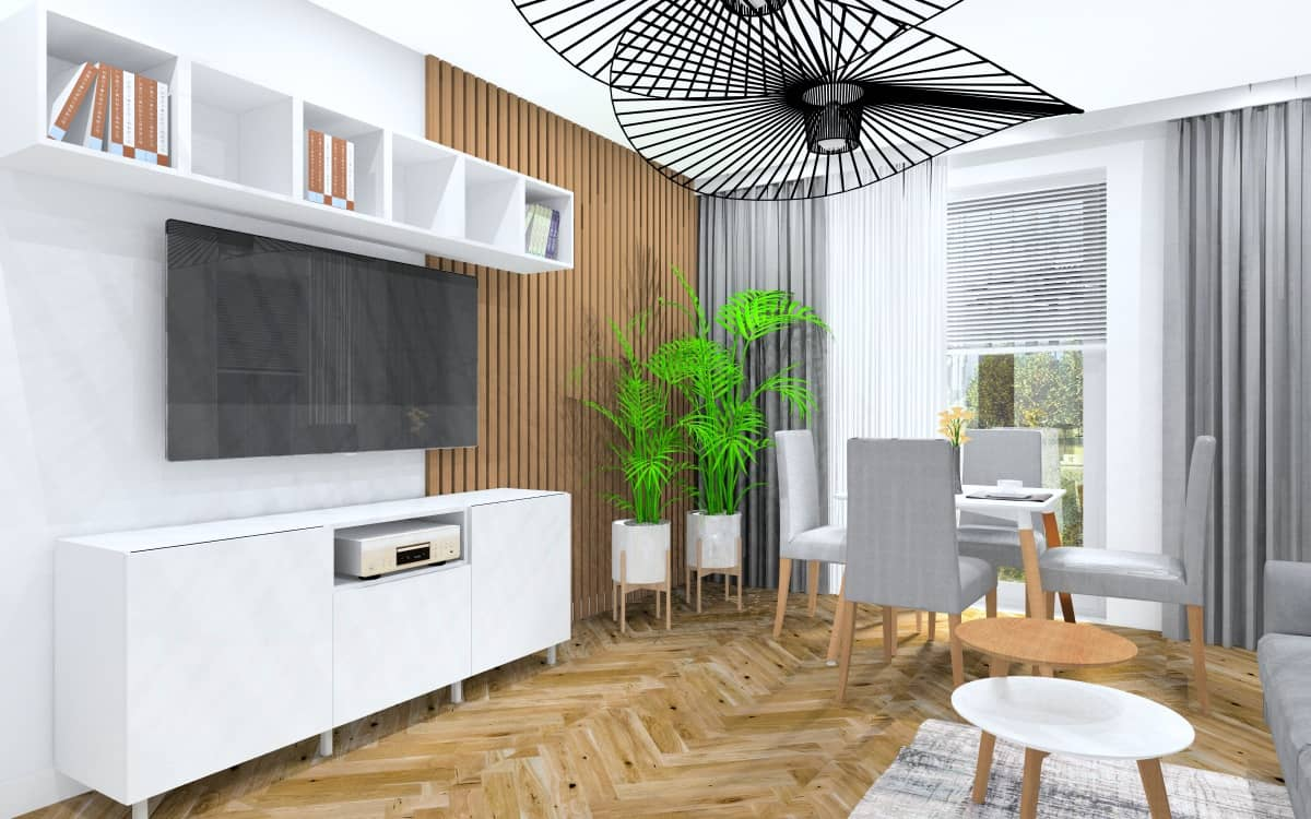 Małe mieszkanie, projekt wnętrzamn wowoczesny salon z aneksem kuchennym