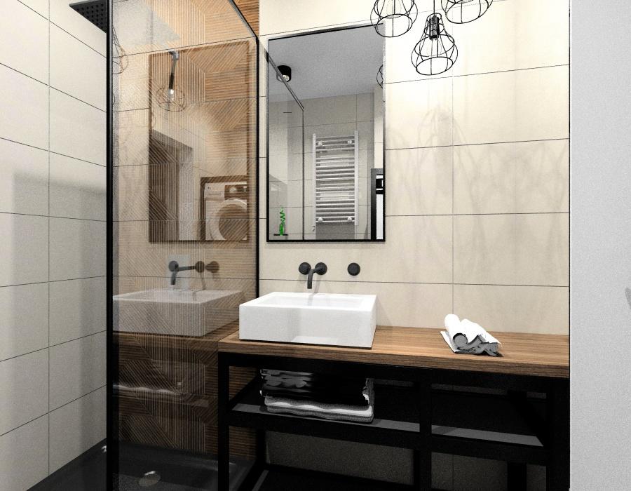 Dobór oświetlenia do łazienki w stylu industrialnym, lampy metalowe, lampy geometryczne