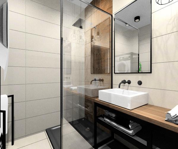 Jakie meble i dodatki w łazience industrialnej?, czarna armatura, metalowe stelaże