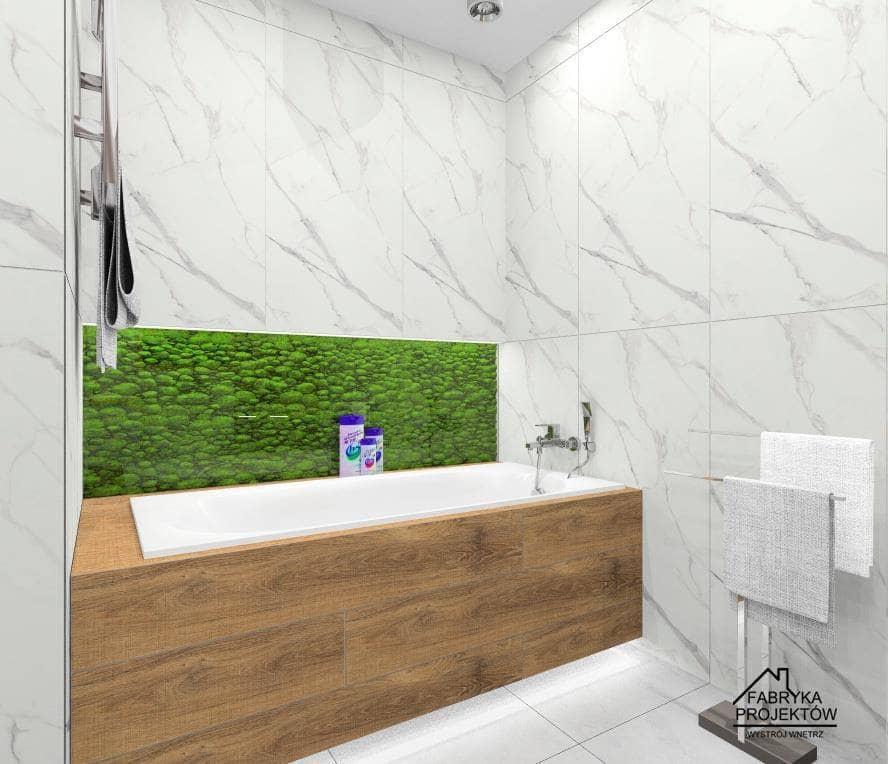 łazienka, obudowa wanny w drewnie i chrobotek w łazience
