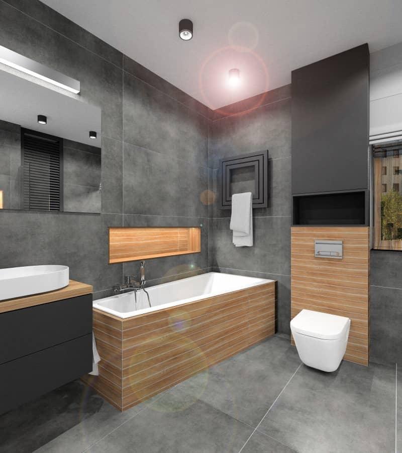Łazienka, drewno i beton