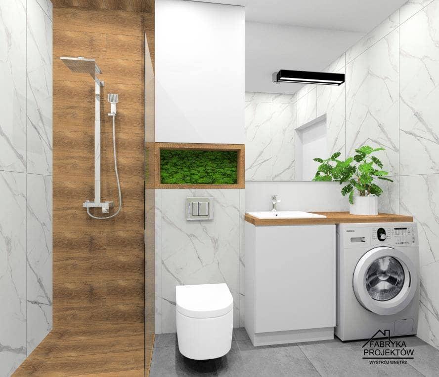 Łazienka z pomysłem: Ściana z prysznicem z drewnem w łazience