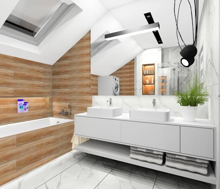 łazienka, Pomysł na łazienkę: Ściana z drewnem za wanną w łazience