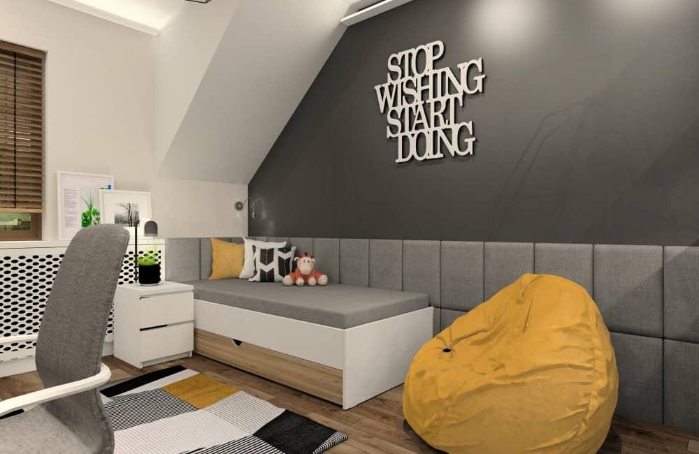 Chłopięce pokoje młodzieżowe: kolory mają znaczenie, pokój i dodatki w kolorze białym, szary, czarnym, żółtym