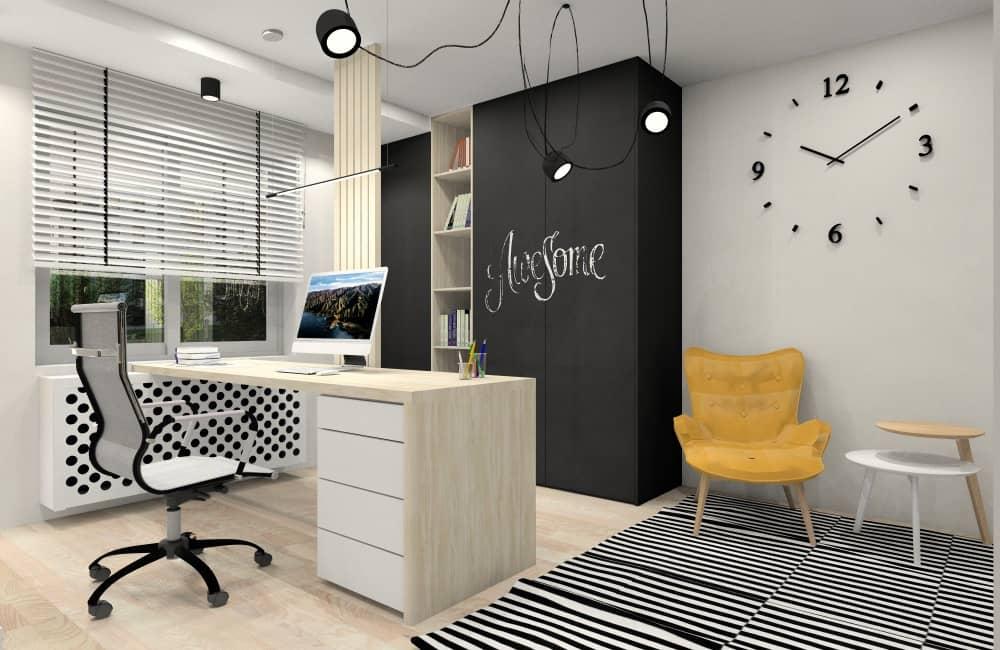 Pokój dla chłopca. Przemyślana aranżacja wnętrza pokoju młodzieżowego, Pokój podzielony na sterfy, duże biurko na środku pod oknem, dywan czarny, biały, żółty fotel, duża zabudowa szaf