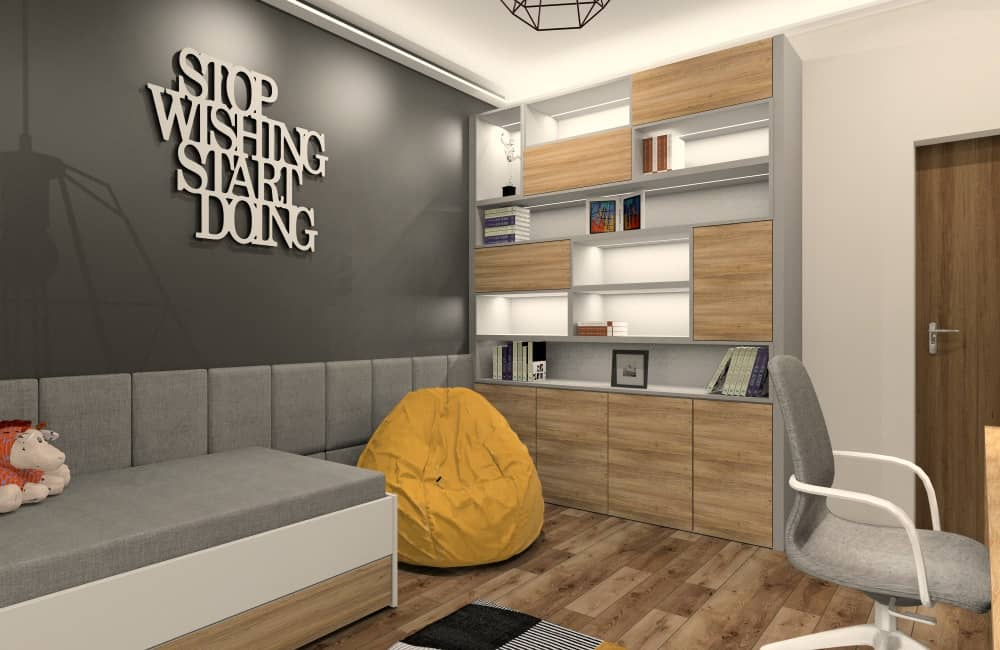 Pokoje młodzieżowe : pomysły na aranżacje wnętrz w kolorach szary, drewno, czarny