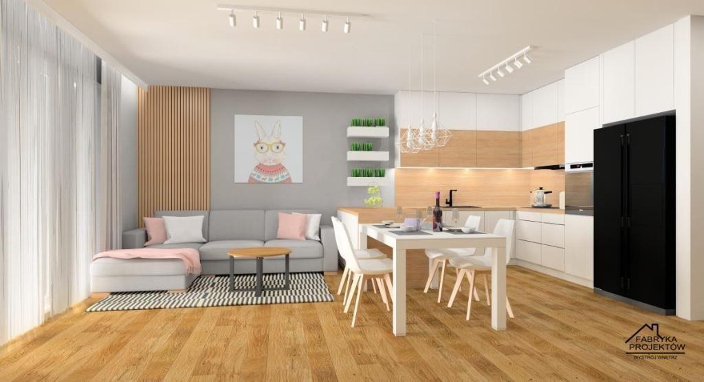 Salon z kuchnia styl skandynawski,w kolorach biały, szary, drewno, dodatki obrazy pudrowy róż, poduszki pudrowy różialy-poduszki-pudrowy-roz