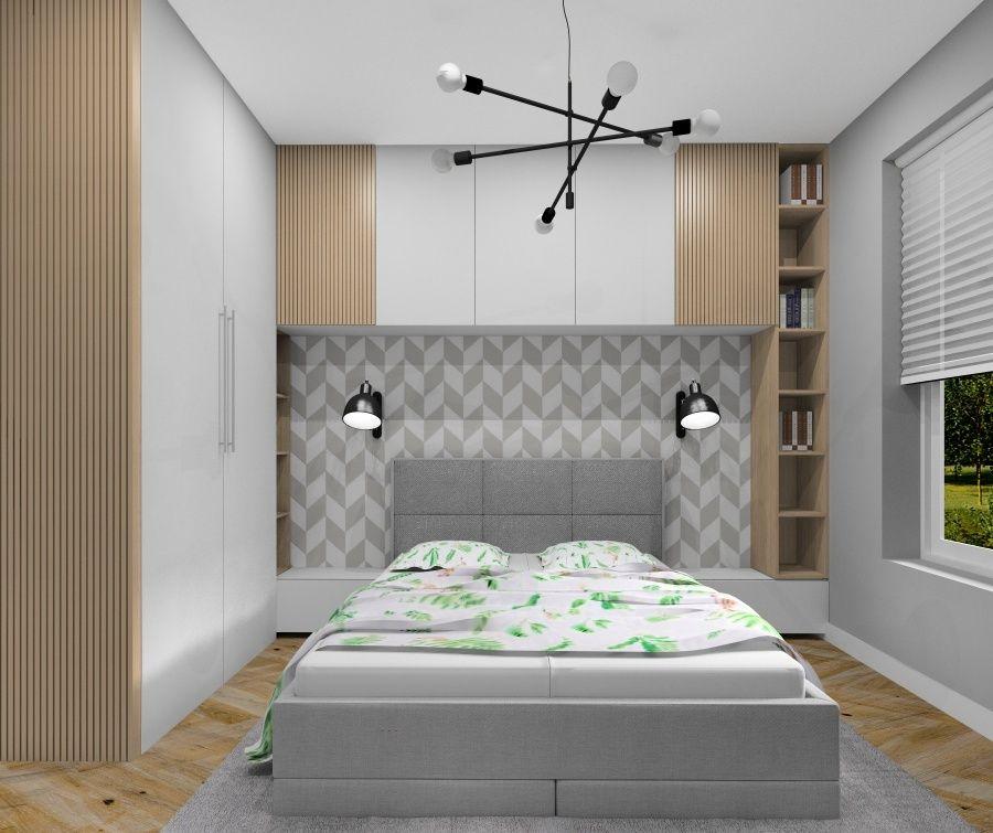 Sypialnia, szarość, biel i drewno