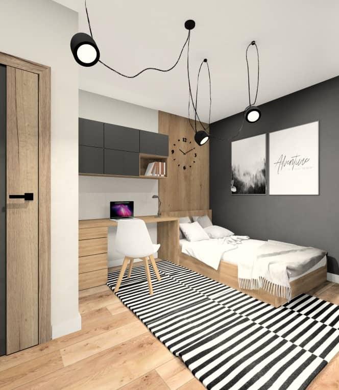 Aranżacja mieszkania w bloku: pokój młodzieżowy dla nastolatka , pokój w kolorze szarym z dodatkiem czarnego, meble w kolorze drewna, nowoczesny biały czarny dywan , plakaty na ścianie