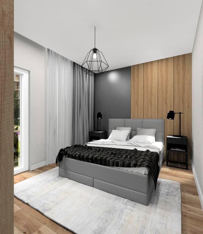 Aranżacja sypialni w mieszkaniu w bloku, łzoko z panelami w kolorze szarym, szafki nocne grafitowe, czarne oświetlenie