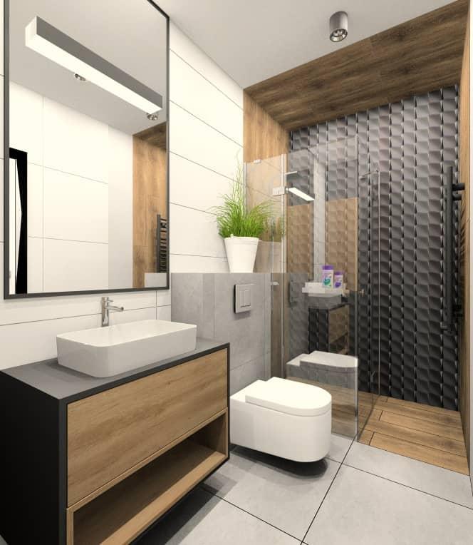 Aranżacja wnętrza łazienki w bloku , łazienka z płytkami drewnopodobnymi, czarne płytki 3d i białe płytki