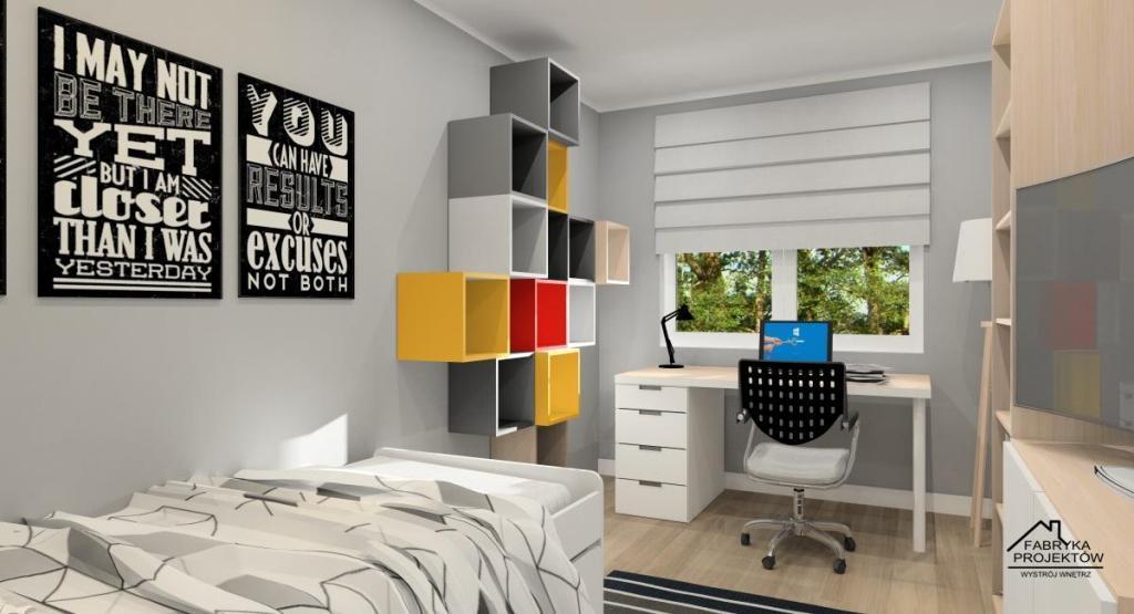 Dekoracja ścian w mieszkaniu, pokój dziecka, plakaty na ścianie, pólki kwadraty różno kolorowe