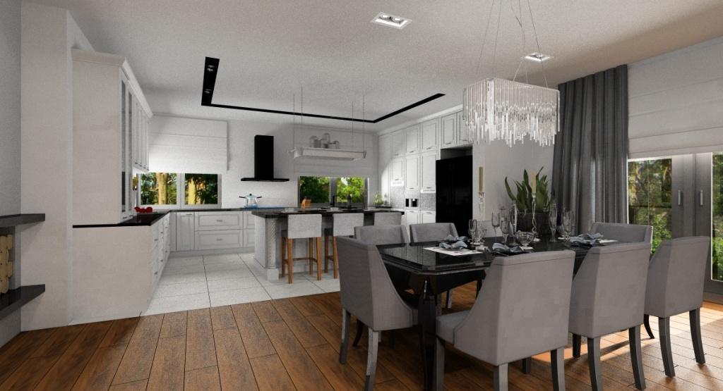 Efekt glamour w salonie z kuchnią oraz salon z kuchnią
