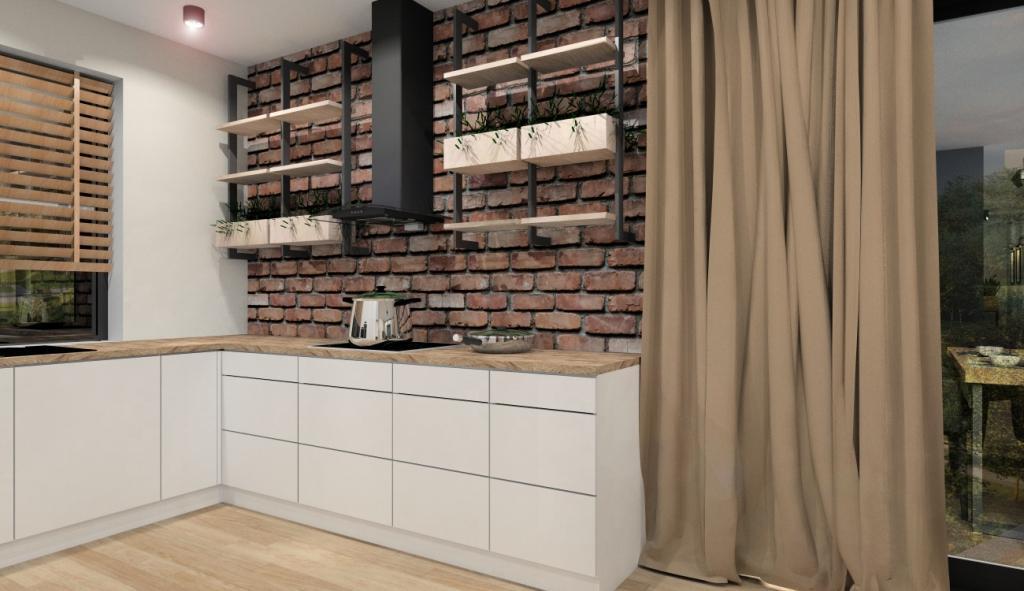 Kuchnia nowoczesna z elementami industrialnymi, otwarte półki na ścianie w kuchni, cegła na ścianie w kuchni, białe pronty kuchenne RAL 9001, blat drewniany