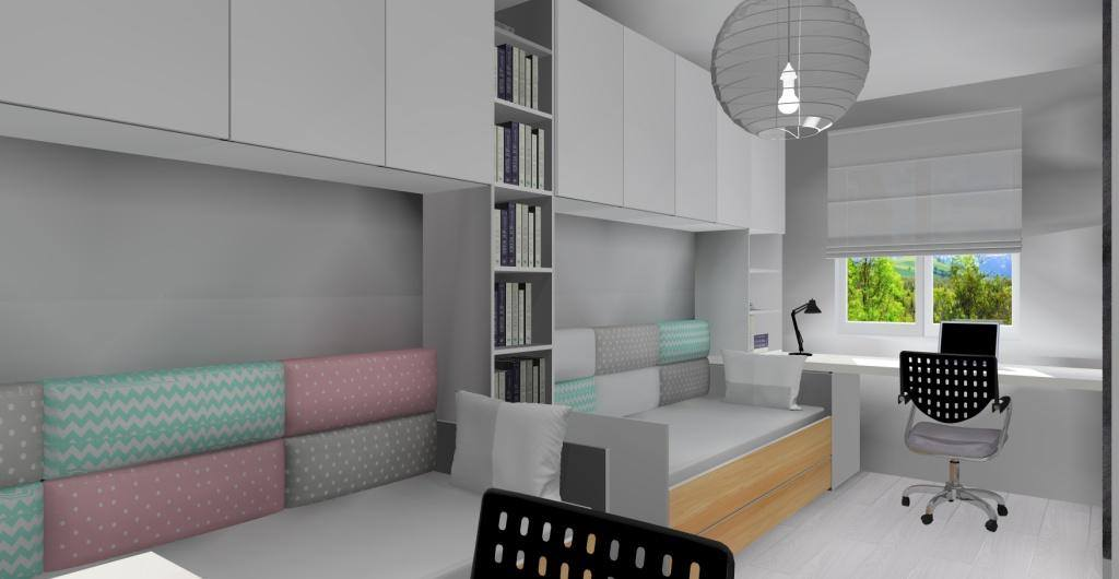 Pokój dla rodzeństwa, miękkie panele za łóżkami