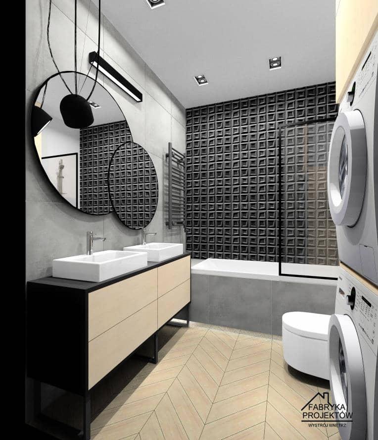 Łazienka w bloku, wanna z parawanem, pralka, suszarka, szafka na nóżkach, lustra okrągłe