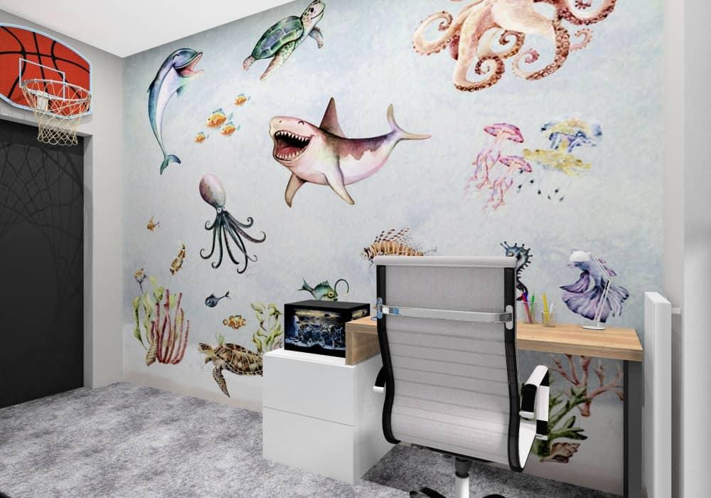 Pokój dla chłopca, tapeta na ścianie ryby, akwarium na szafce, kosz do koszykówki rekiny, ośmiornica