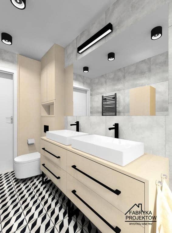 Projekt łazienki z czarnymi dodatkami, czarne oświetlenie, czarny grzejnik dekoracyjny, czarne baterie, drewniane szafki, czarne uchwyty, szare płytki, czarne, białe płytki na podłodze