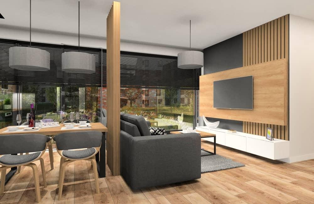 Mieszkanie w bloku: salon z aneksem kuchennym i przedpokój