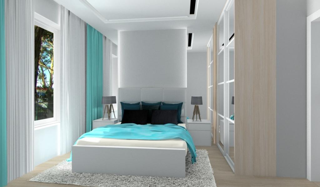 Małe mieszkanie, optycznie powięszone, dodatki, zasłony turkusowe, Szafa z drzwiami przesuwnymi z lustrami