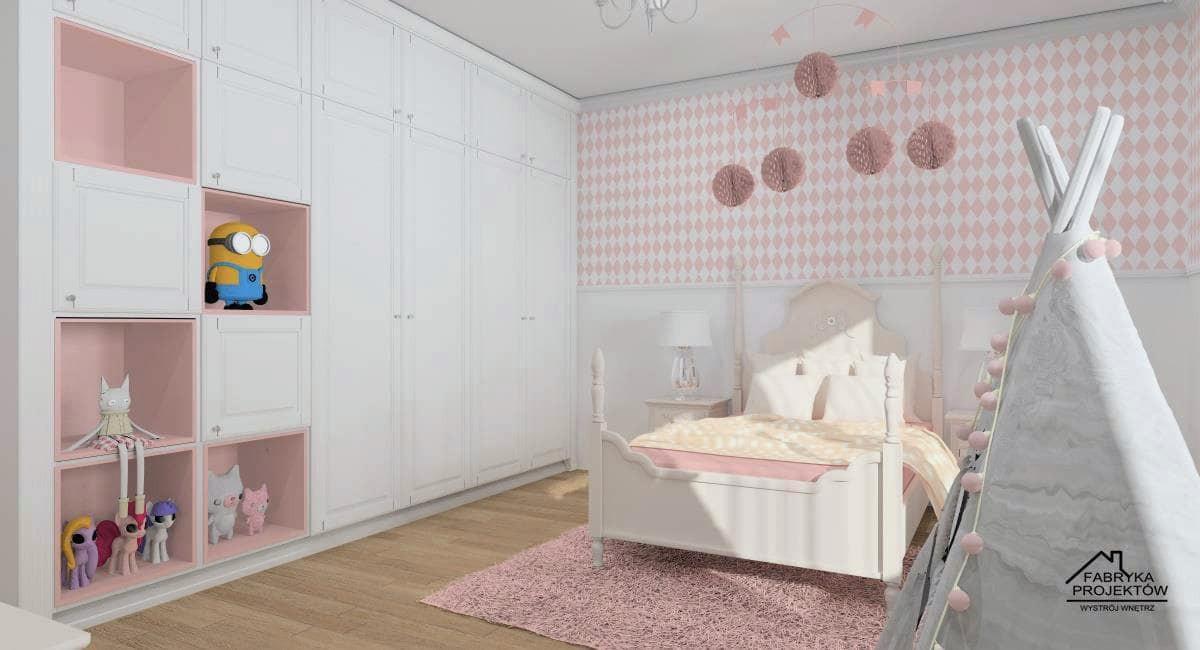 Pokój dla dziecka, dziewczynki – klasyczny pokój księżniczki w bieli i pudrowym różu