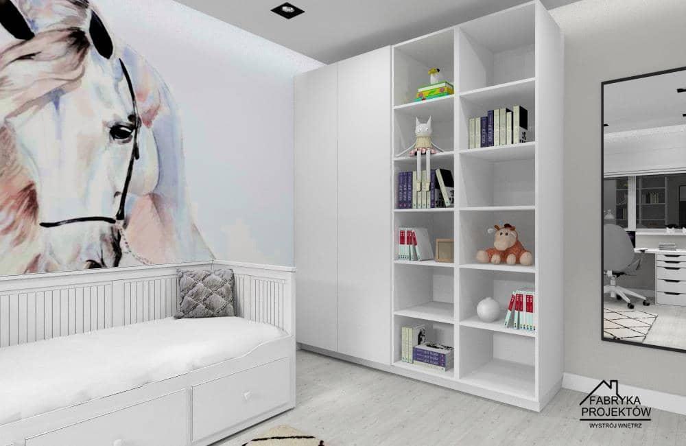 Pokój dla dziewczynki – pomysł, aranżacja wnętrza, fototapeta na ścianie koń, łózko Ikea Hemnes, szafa Ikea PAX
