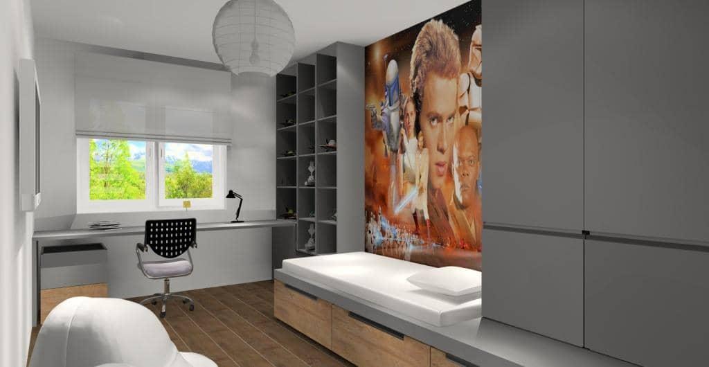 Pokój dla nastolatka – ciekawa aranżacja ściany z łóżkiem