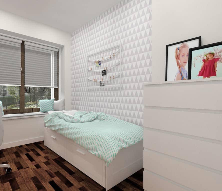 Pokój dla nastolatki z geometryczną fototapetą