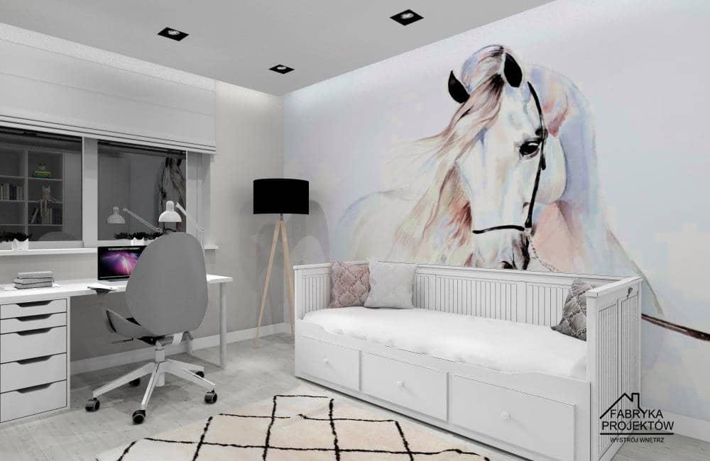 Pokój dla nastolatki – wnętrze z nowoczesną fototapetą