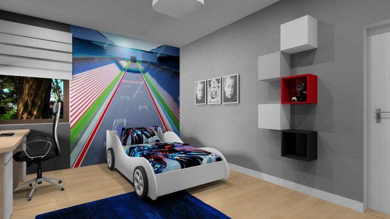 Dodatki w pokoju dziecięcym, dekoracje w pokoju chłopca, fototapeta, samochód łózko, kolory czerowny, biały, granatowy, szary, drewno