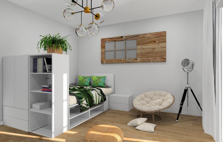 Pokój młodziezowy dla nastolatka, mały pokój, dodatki poduszki zielone, rośliny, drzwi na ścianie, oświetlenie, lampa podłogowa, żyrandol na suficie