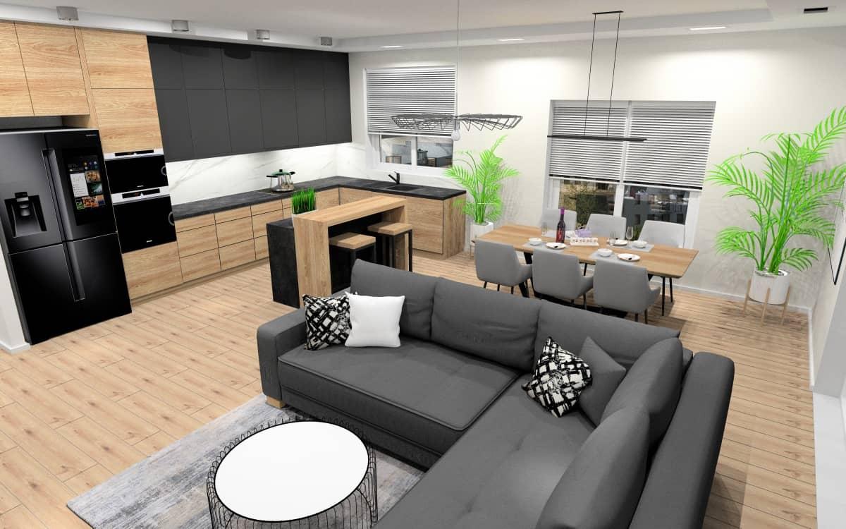 Projekty salonu połączonego z kuchnią: harmonijne i spójne wnętrza