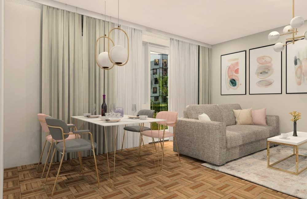Projekt salonu. Pomysł na wystrój wnętrza, złote dodatki, szara sofa, pudrowy róż