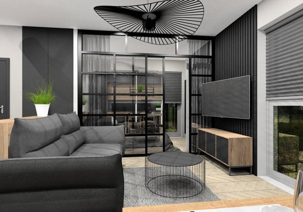 Projekt salonu, komfortowa przestrzeń