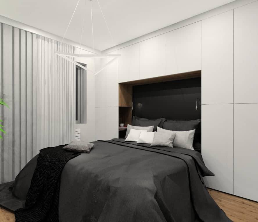 Projekt sypialni, zabudowa nad łóżkiem, szafa i szafki nocne