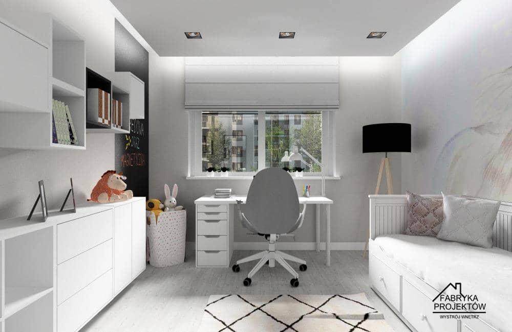 Projekty wnętrz pokoju dziecięcego i młodzieżowego, Meble Ikea Kalax, biurko LINNMON / ALEX, krzesło ikea LÅNGFJÄLL