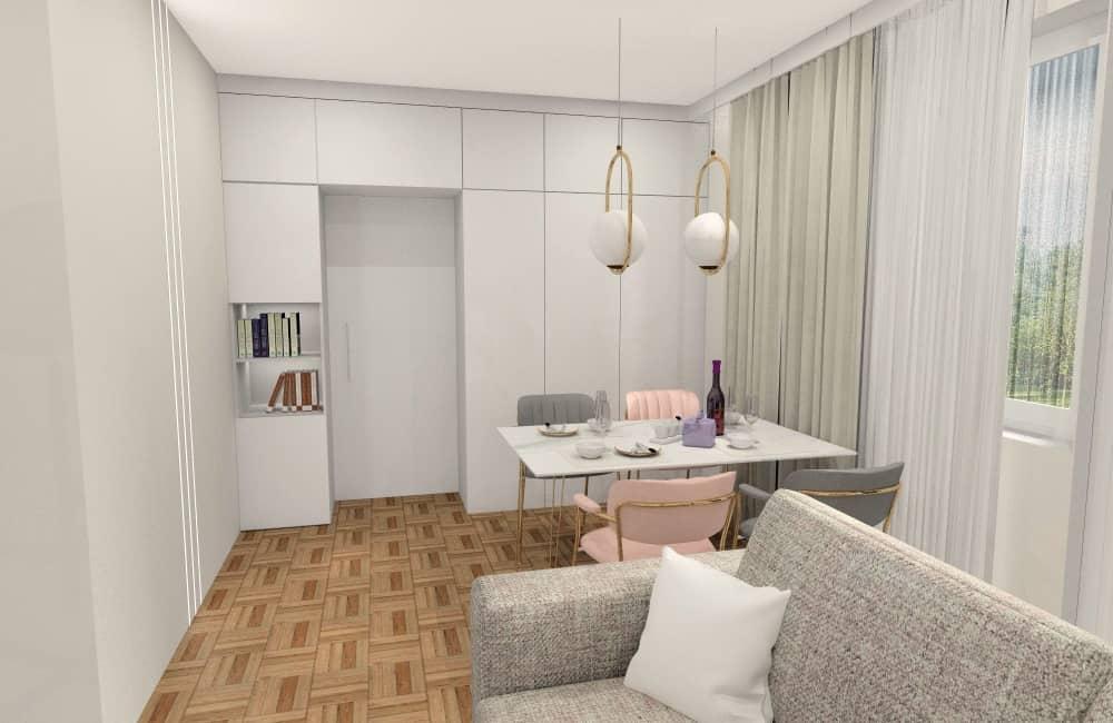 Salon 24 m2. Inspiracja, pomysł na przechowywanie