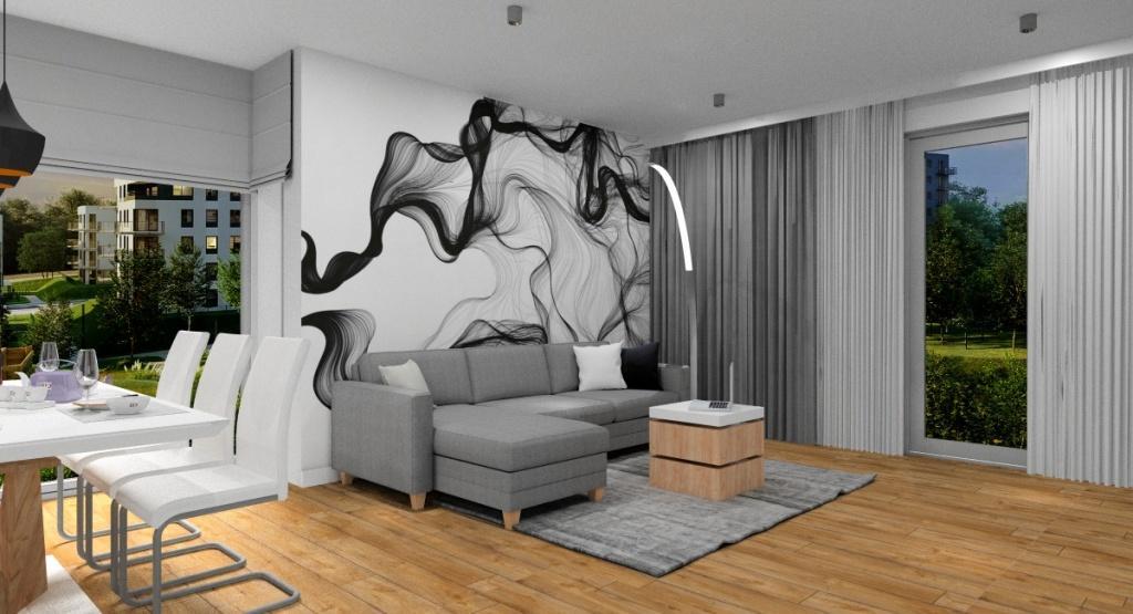 Salon dekoracje, dodatki, fototapeta na ścianie za sofą, narożnikiem