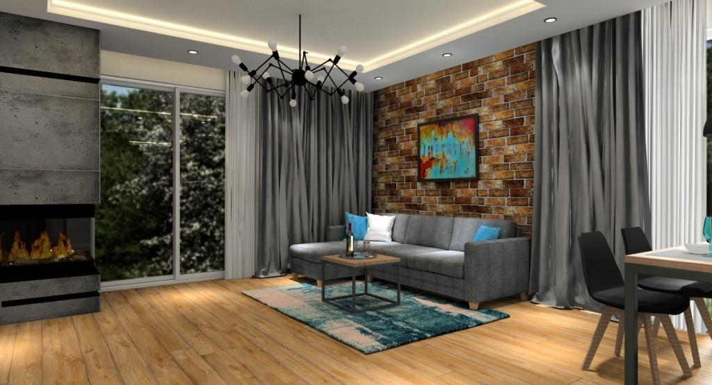 Salon, dodatki w salonie, poduszki, cegła, dywan, kominek, oświetlenie