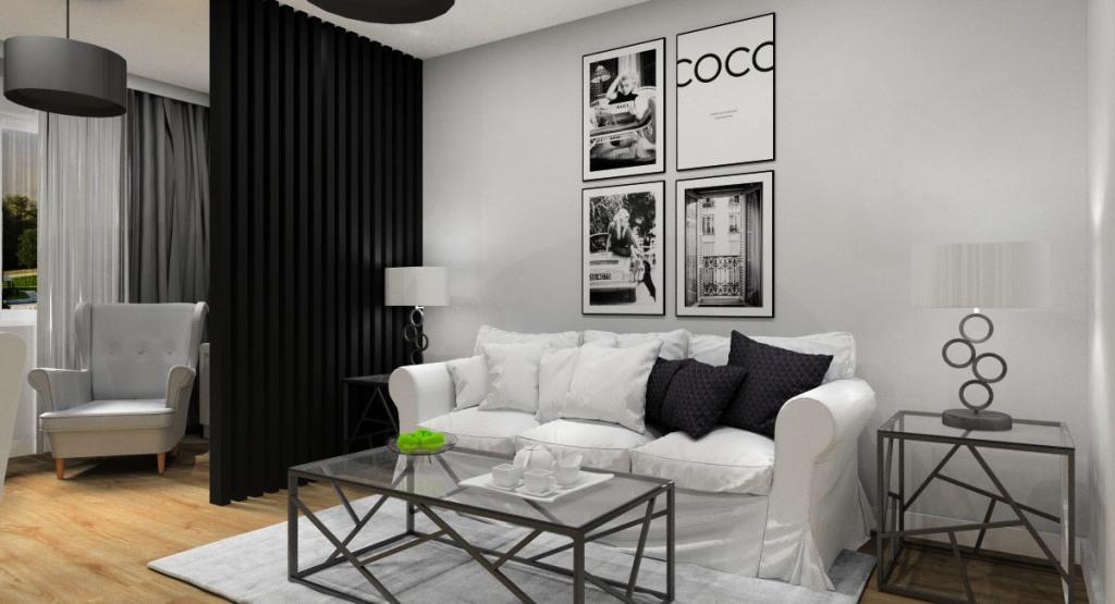 Salon dodatki, dekoracje, plakaty ze zdjęciami, poduszki, dywan