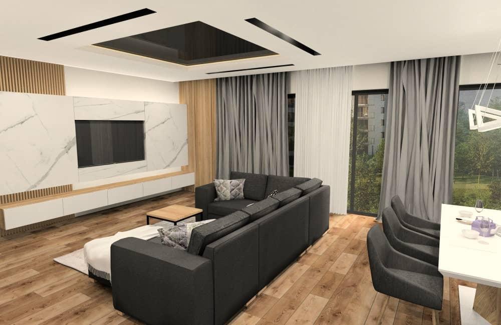 Salon z kuchnią 50 m2. Jak urządzić. Aranżacja wnętrz