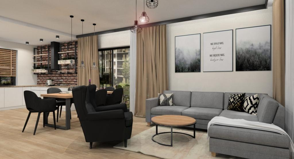Salon z kuchnią, nowoczesne wnętrze w kolorach, szary, beż, czarny z elemntami industrialnymi, cegła na ścianie w kuchni, obraz czarno białe w salonie nad sofą, sofa narozna, poduszki beż, czarny, zasłony beżowe, czarne krzesła, fotel czarny