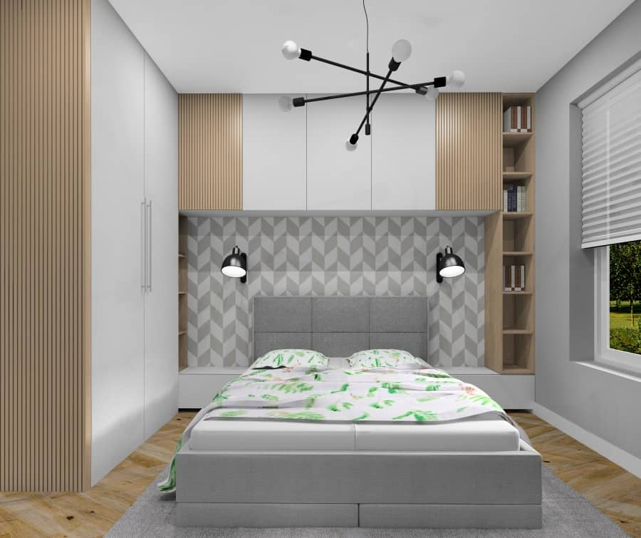 Sypialnia, ciekawy pomysł na projekt zabudowy nad łózkiem