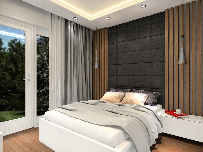 Sypialnia, dekoracje - poduszki, dywan, lustra, zasłony, panele tapicerowane, drewno