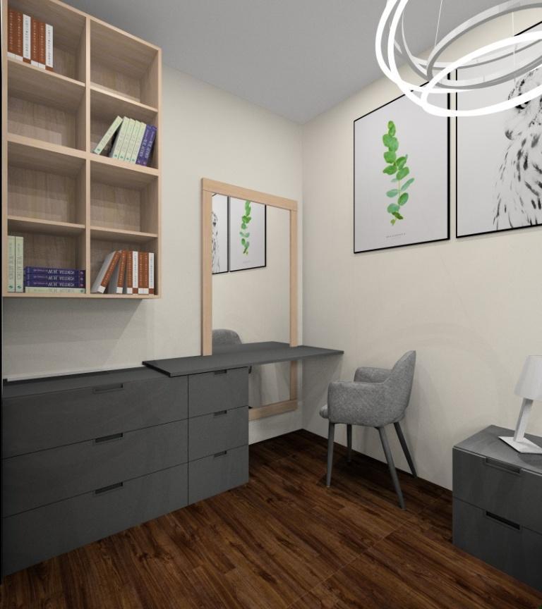Aranżacja sypialni, Blat do toaletki IKEA Nordi, łóżko IKEA Nordi grafitowe, komoda IKEA Nordi