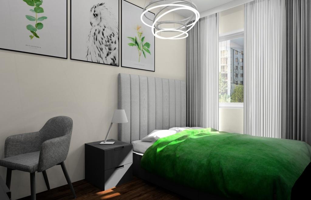 Sypialnia, wystój nowoczesny, Plakaty zielone, białe poduszki, narzuta zielona